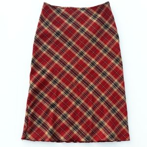 xoxo | Red & Gold Plaid Wool Midi Skirt size 7